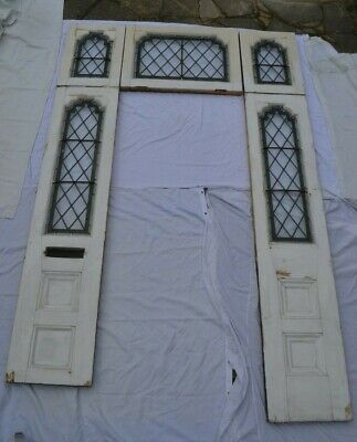 5 piece surrounding door set. Leaded light stained glass. R924. DELIVERY OPTION!