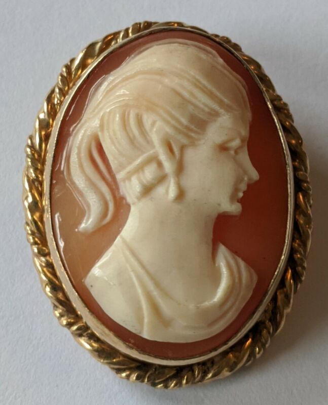 Vintage 12K Gold Filled Carved Shell Cameo Pin Pendant