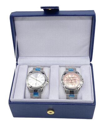 Akribos XXIV His & Hers Quartz Silver Tone Pink Stainless Steel Watch Set