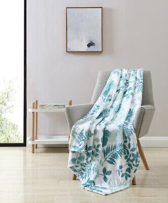 VCNY Home Ultra Soft & Plush Turquoise Aqua Premium Fleece Floral Throw Blanket