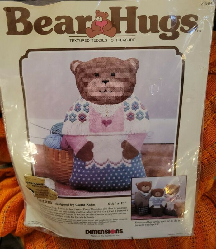 "Vtg Dimensions Bear Hugs 9.5x 15"" Emma New 2289 Needlepoint 1985  Sealed Craft"