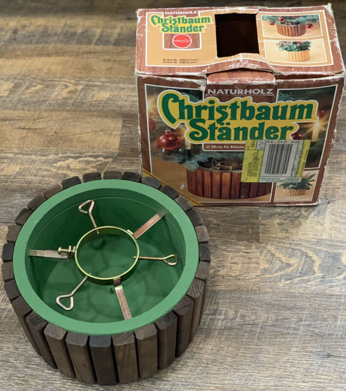 Vintage Naturholz Christbaum Stander With Original Box (Rare Find)