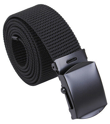 Web Belt Black Military Style Nylon Web Belt W  Black Color Buckle 54  4241