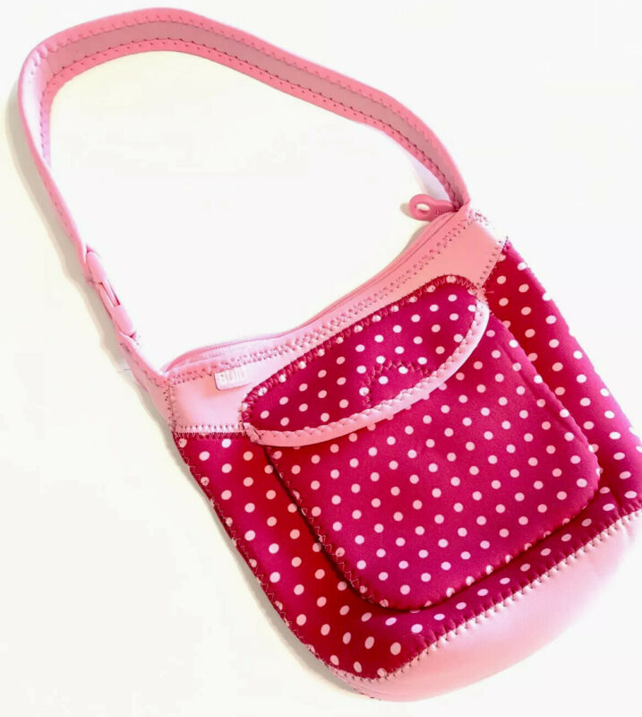 Built Neoprene Bottle Buddy Three Bottle Tote Travel Bag Pink Polkadot