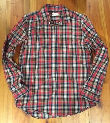 Gap Mens Plaid Long Sleeve Shirt Medium
