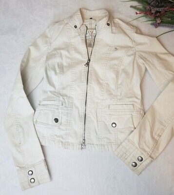 ABERCROMBIE & FITCH Khaki Zip Up Waist Length Jacket Size Small, Cotton Blend