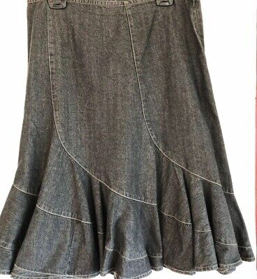 DKNY Jeans Skirt Side Zip 100% Cotton 14