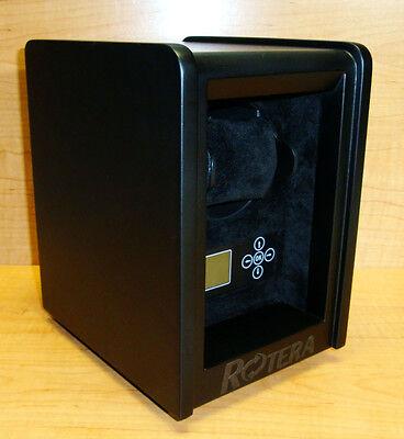 Rotera Automatic Watch Winder Single Wood Box Matte Black  LCD Control Display - Black Wood Lcd
