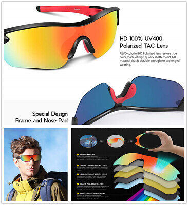 CYCLING OUTDOOR POLARIZED BIKE SAFETY GLASSES SUNGLASSES SPORT EYEWEAR & 5 (Polarised Safety Sunglasses)