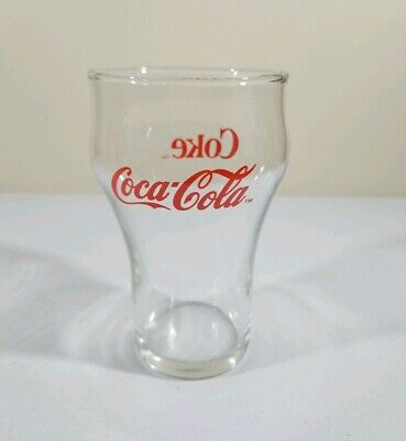 """Vintage COCA-COLA Coke Clear Red Letter Glass 5"""" Tall Drinking Glass Tumbler"""