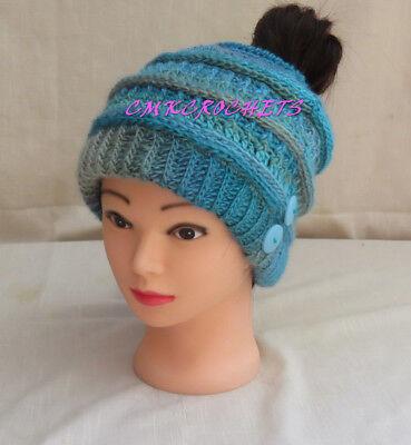 (Crochet Hat Chic Soft blue turquoi Fashion messy bun Mom Sister FREE SHIP A4)