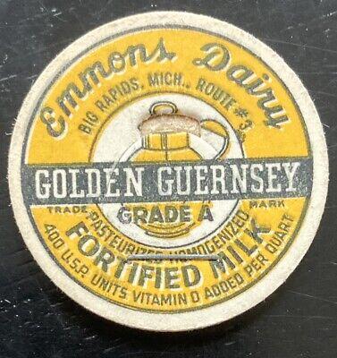 MILK BOTTLE CAP~EMMONS DAIRY FARM, BIG RAPIDS, MICHIGAN. GOLDEN GUERNSEY