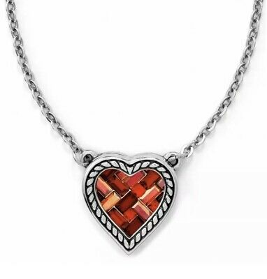 NWT Brighton Valentines Day Crystal Red Heart Stain Glass Necklace