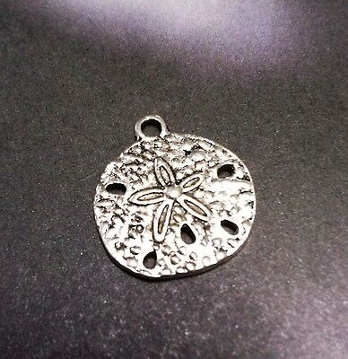 Sand Dollar Charms Ocean Charms Antiqued Silver Nautical Charms 10pcs