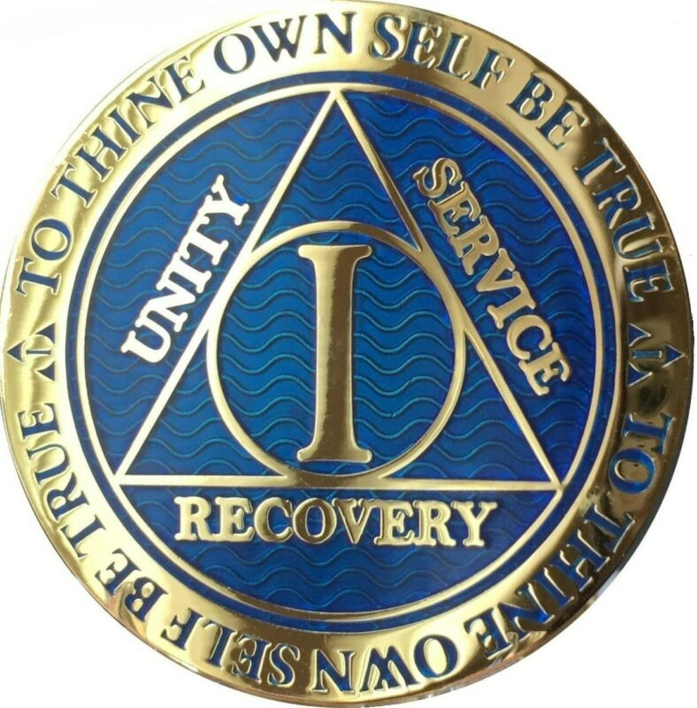 AA Medallion 1 Year Blue Alcoholics Anonymous Recovery Chip With Serenity Prayer