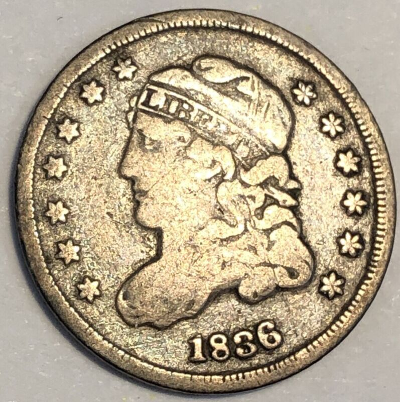1836 Capped Bust Half Dime. Large 5, Small Date.