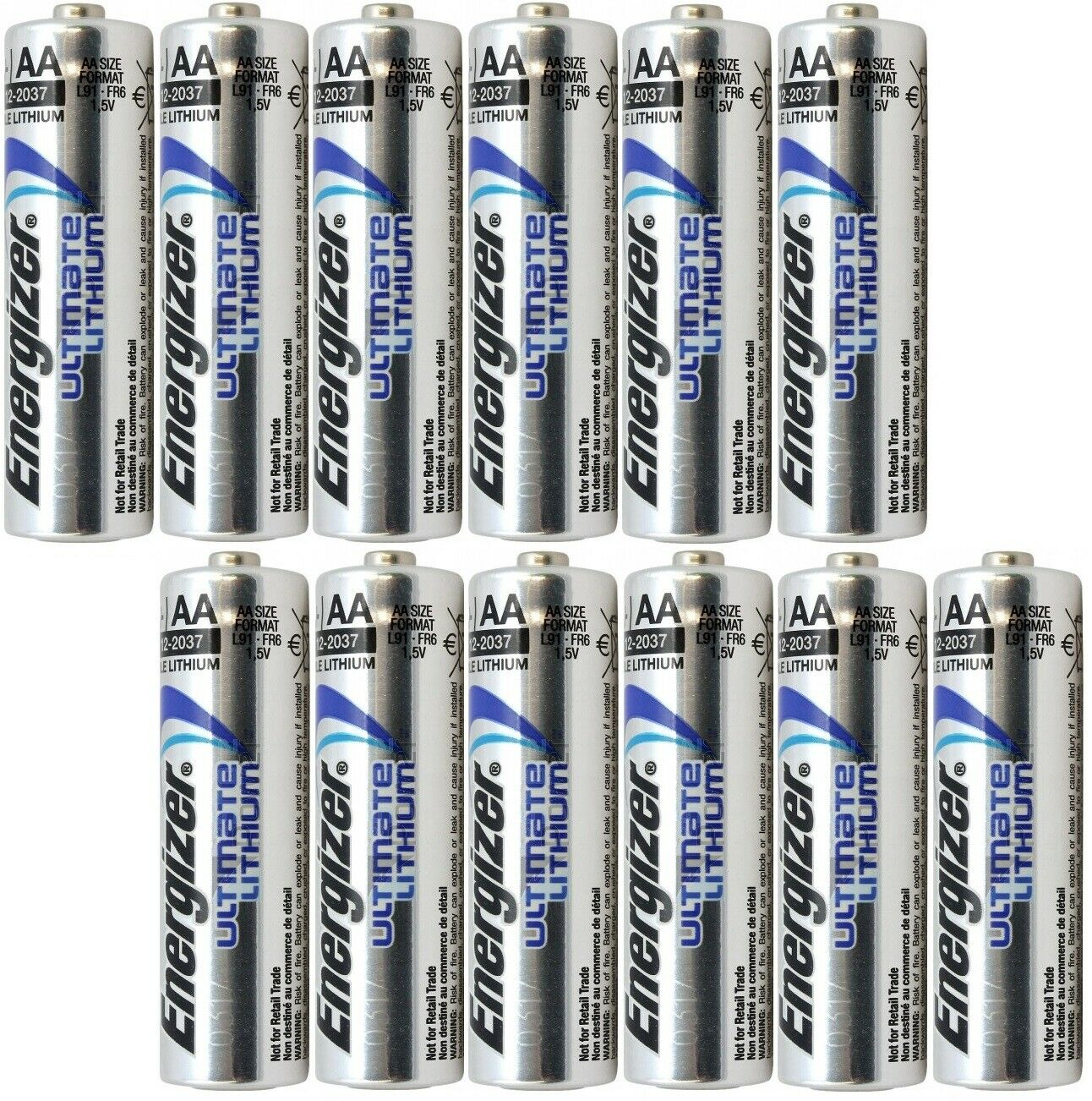 Pack of 12 AAA Energizer Ultimate Lithium Battery, Longest L