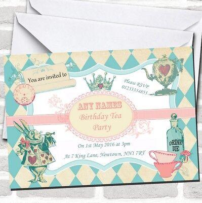 Alice In Wonderland Mad Hatters Tea Birthday Children's Party Invitations