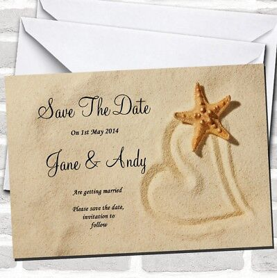 Sandy Beach Romantic Wedding Save The Date Cards