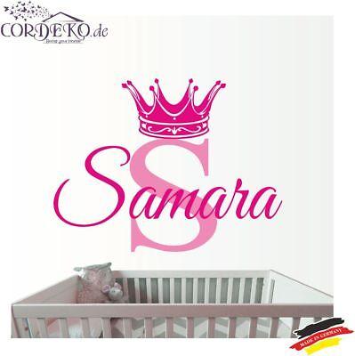 Krone + Name ●︎ WANDTATTOO ●︎ TÜRAUFKLEBER ●︎ Prinz Prinzessin Kinderzimmer Baby ()