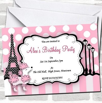 Poodle Birthday Party Invitations (Pink Poodle Paris Theme Birthday Party)