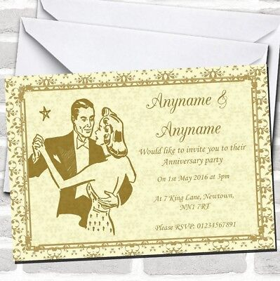 Gold Yellow Classic Anniversary Party Invitations