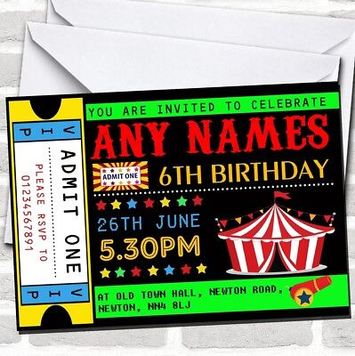Carnival Party Invitations (Circus Carnival Ticket Children's Birthday Party)