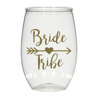 16 oz personalized stemless wine glass, weddings cups party favors Bride Tribe - Wine Glass Favors