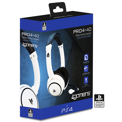 Official PRO4-40 Stereo Gaming Chat Headset with Mic White for PlayStation 4 PS4