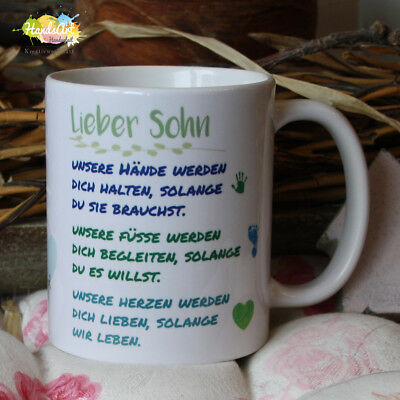Valentin Kinder (Tasse / Lieber Sohn -unsere Hände/ Geschenk Kinder Weihnachten Valentinstag)