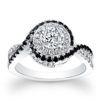 1.80ct Round Natural Black Diamonds Halo Engagement Ring SI1-I GIA 14K 18K Plat