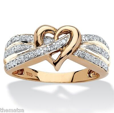 18K GOLD OVER STERLING SILVER ROUND DIAMOND CROSSOVER HEART RING SIZE 6 7 8 9 10