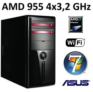 Quad Core Computer AMD Phenom II X4 955 8gb PC Rechner Komplett System windows 7