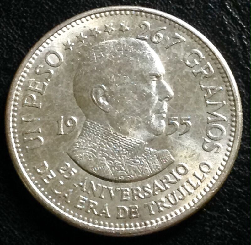 1955 DOMINICAN REPUBLIC SILVER TRUJILLO ONE PESO 25th ANNIVERSARY
