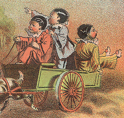 BIG BONANZA STOVE POLISH by G A HYERS TRADE CARD, ORENTIAL BOYS, GOAT CART  Z249 (Orential Trading)