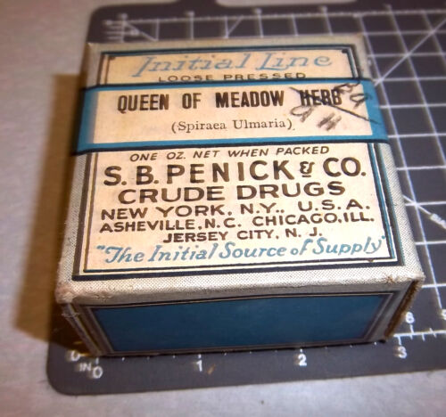 Vintage SB Penick co, QUEEN OF MEADOW HERB, 1900s Pharmacy New box, Jersey City