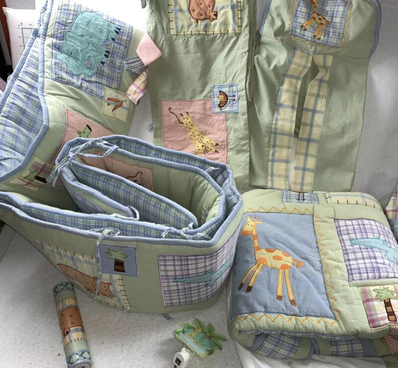 Kidsline Malawi Nursery 7 Pc Décor Crib Bumper Comforter Valance Safari Animals
