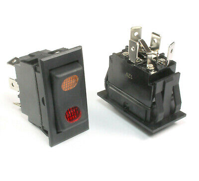 1pc- New Lighted Rocker Switch Spdt 10 Amps 12 Volts Dc Black On Off On
