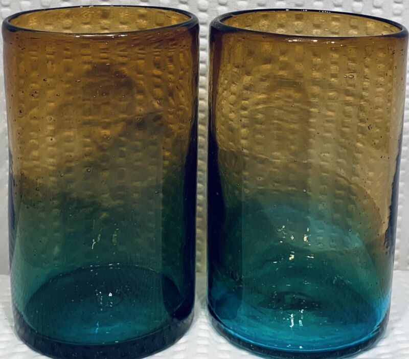 "Lot Of 2 ~ 5 1/4"" GLASS TUMBLER Amber/Aqua Hand Blown With PONTIFF ~ EC"