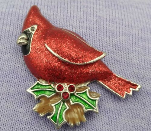 "Vintage~~Christmas Cardinal Bird  On Holly 2""  Brooch Pin"