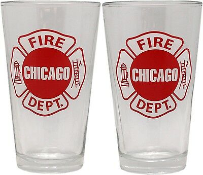 Fire Glass Collection (Chicago Fire Department Pint Glass Set Of 2 Maltese Z100000 )