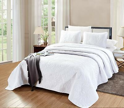 Savannah Quilt White OverSize CAL KING Microfiber Coverlet Bedding Bedspread ()