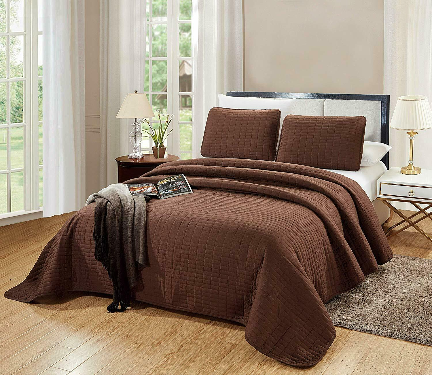 3PC CAL King Size Catena Quilt Set Chocolate Brown Microfibe