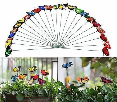 Set of 25 Butterfly Decorative Garden Decor Stakes Outdoor Yard Lawn Art