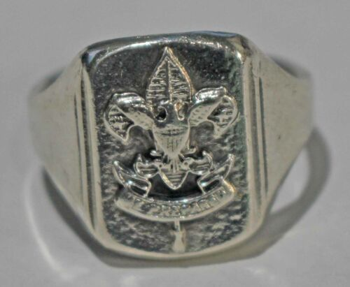 Boy Scout Size 8 Sterling Silver Vintage Emblem Ring First Class