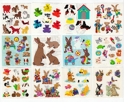 Vintage Sandylion Teddy Bear Bunny Dog Kromekote Glitter Stickers -You - Teddy Bear Dog