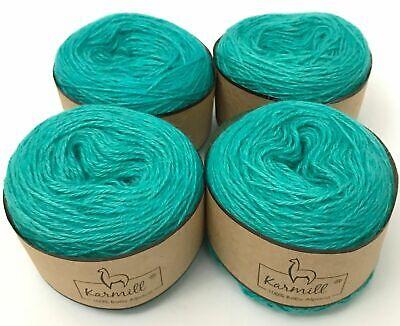 Alpaca Wool Skeins 100% Baby Alpaca Yarn Lot of 4 Aqua Color (100% Alpaca Wool Yarn)