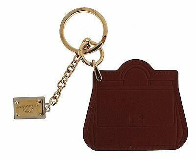 NEW DOLCE & GABBANA Keyring Brown Leather Miss SICILY Gold Finder Chain