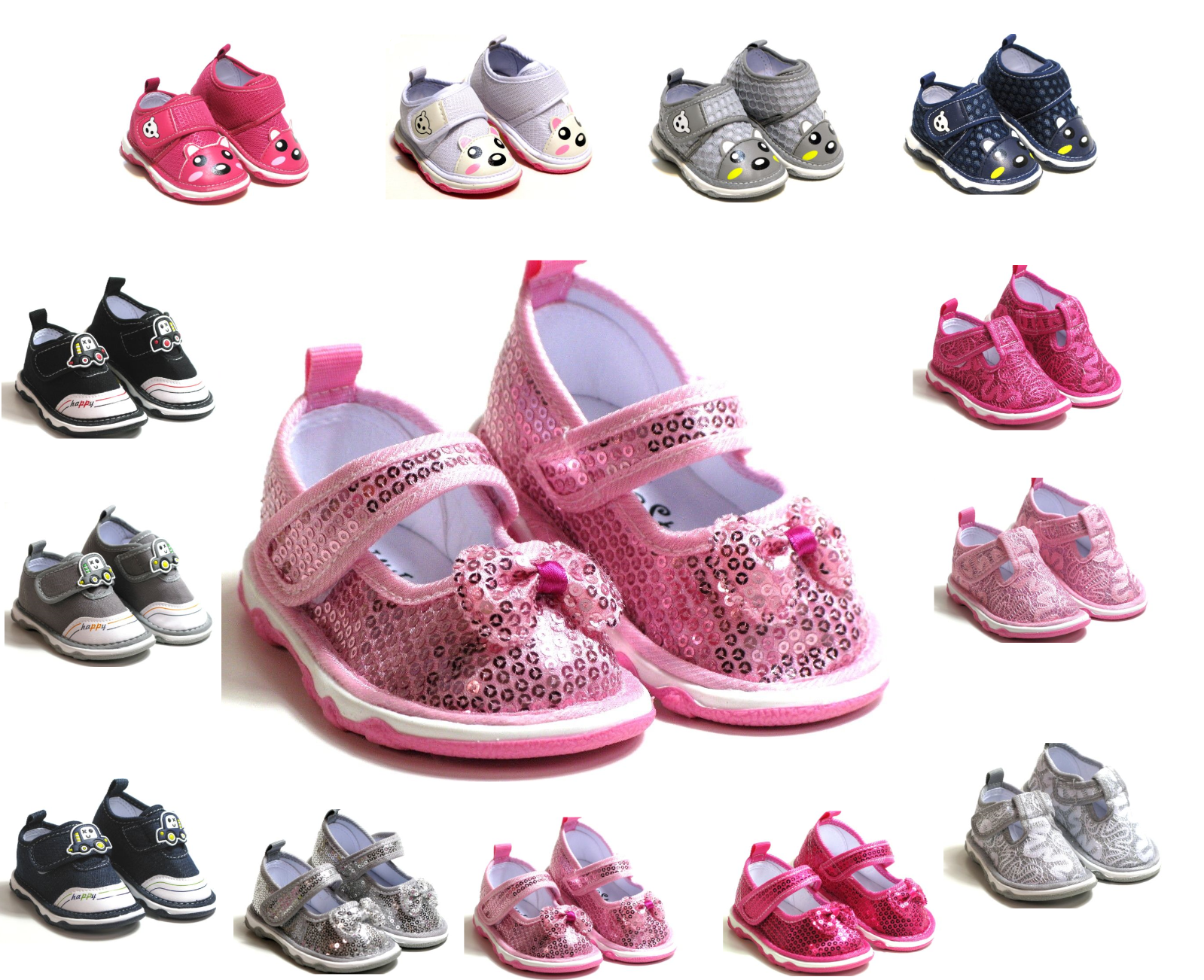 New Adorable Baby Toddler Boys Girls Squeaky Shoes 4 Colors Size