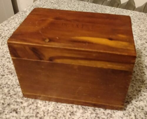 Vintage Wooden Index File Box Dovetail Recipe Farmhouse Kitchen 3x5 Rustic